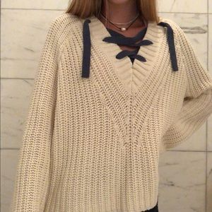 Aerie Cable Knit Sweater with Lace Up Detail